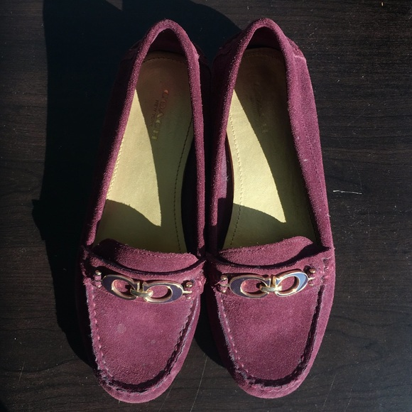 3690cb70898 Coach Shoes - Coach Burgundy Fortunata Driving Loafers NWOT 6.5